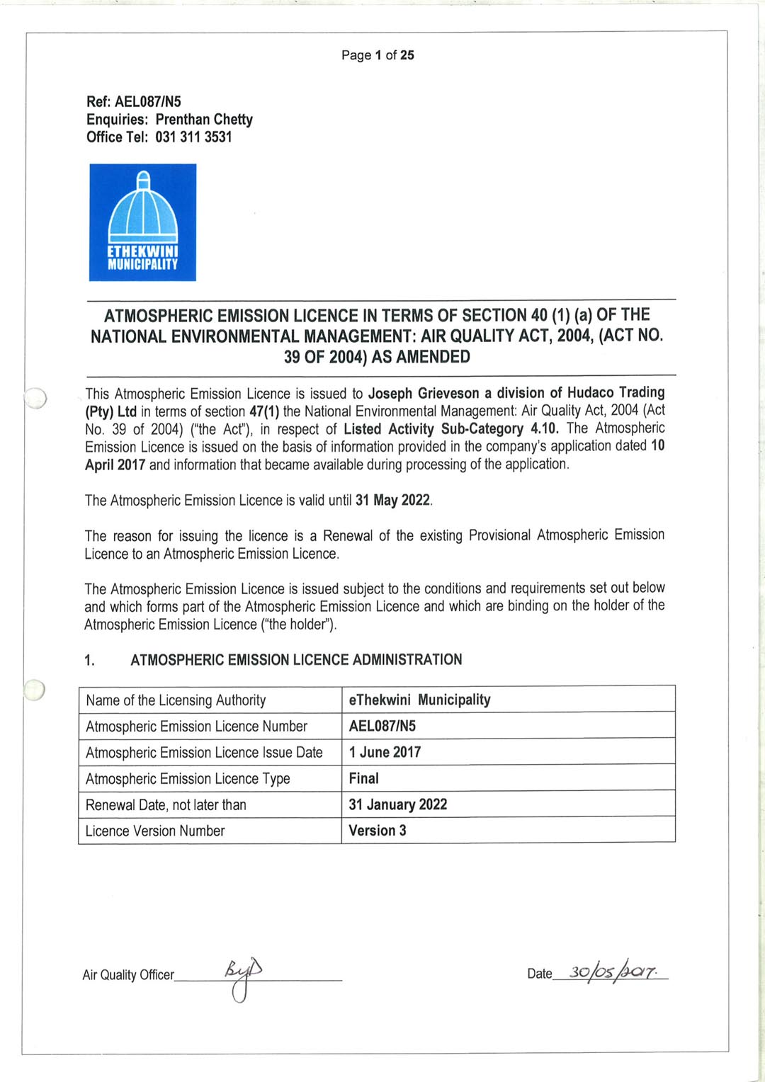 Joseph Grieveson Air Emissions Licence