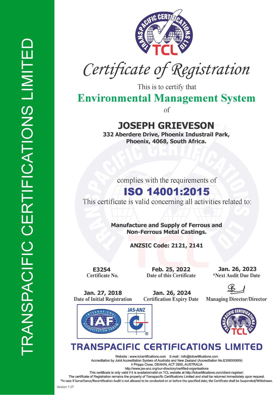Joseph Grieveson ISO 14001 2015 Certificate