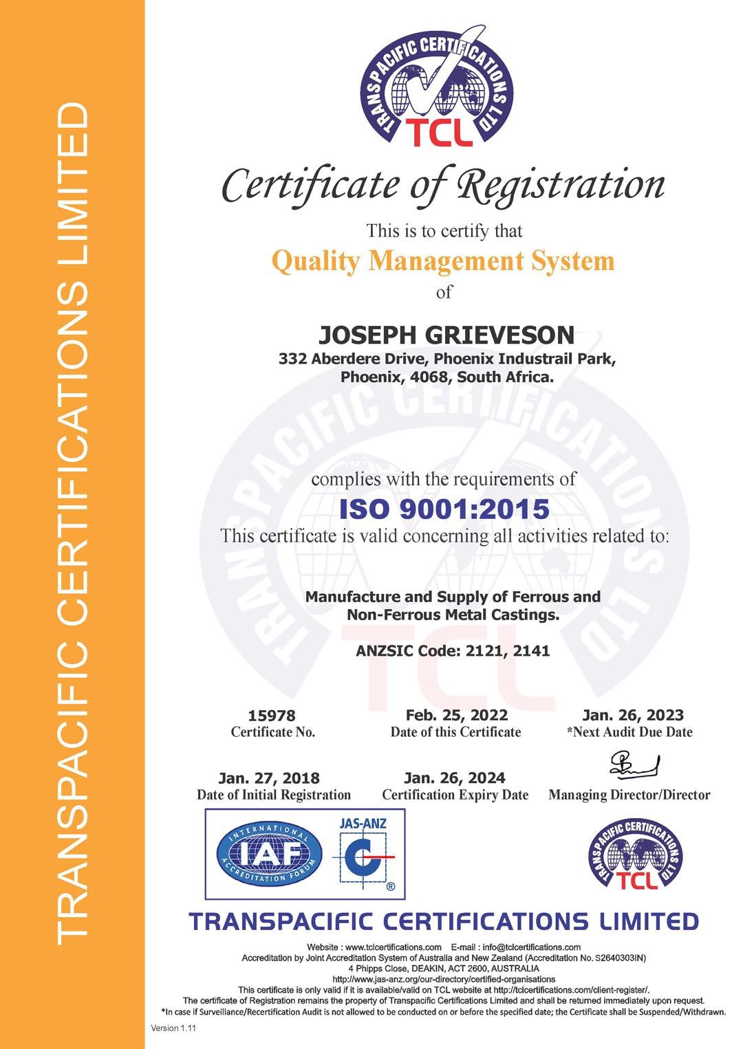 Joseph Grieveson ISO 9001 2015 Certificate
